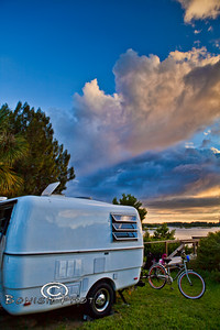 Trillium Camper at Sunset camped at Sunset Isle RV Park - Cedar Key Florida - Photo by Pat Bonish
