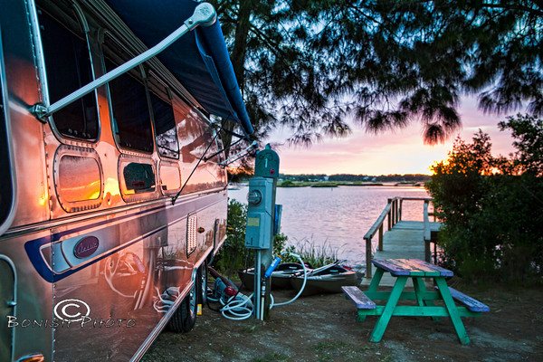 Airstream Reflections at Sunset Isle RV Park - Cedar Key FL - Photo by Pat Bonish