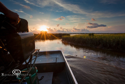 Sunset from the Airboat - Cedar Key Florida - Photo by Pat Bonish